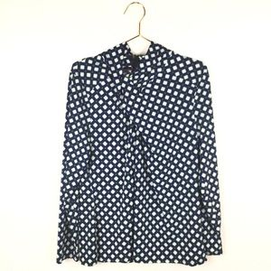 New Worthington XL Shirt Blue Elina Geometric Long